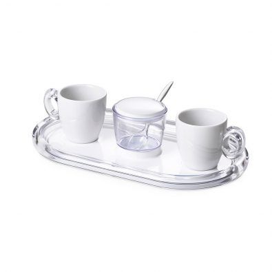 Set 2 espresso cups and sugar bowl Crystal