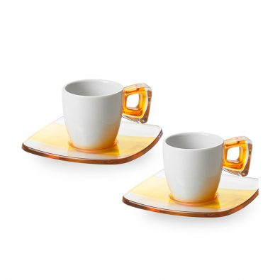 Set 2 coffee cups with saucers and handles bicoloured (Square)