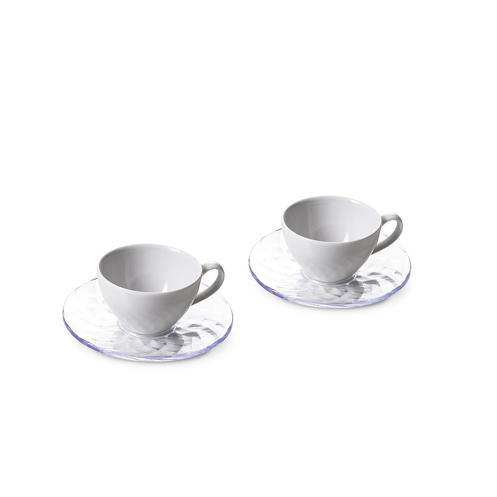 Set of 2 espresso cups Diamond with saucers Ø 12 cm