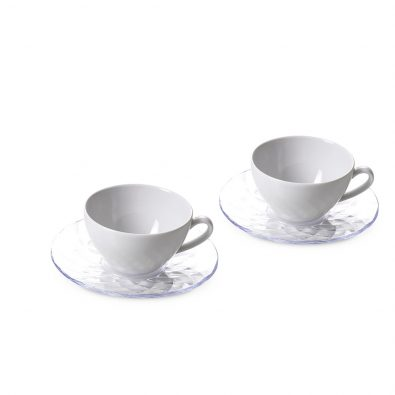 Set of 2 tea cups Diamond with saucers Ø 15 cm