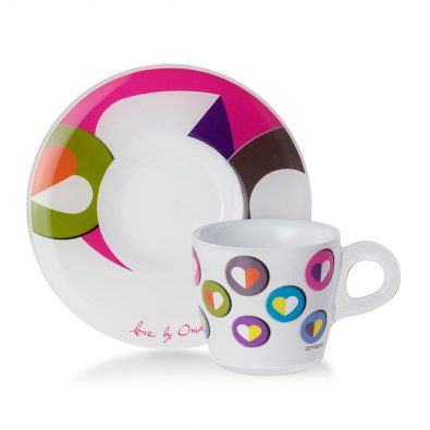 Set 4 tazzine da caffè Plexart decoro Heart Colour