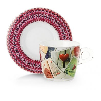 Set of 2 cups of tea and cappuccino 23 cl with saucers and graphic decoration.