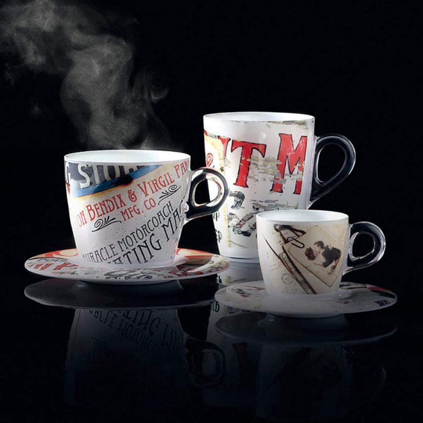 Set 2 mug Plexart con decoro Vintage Signs
