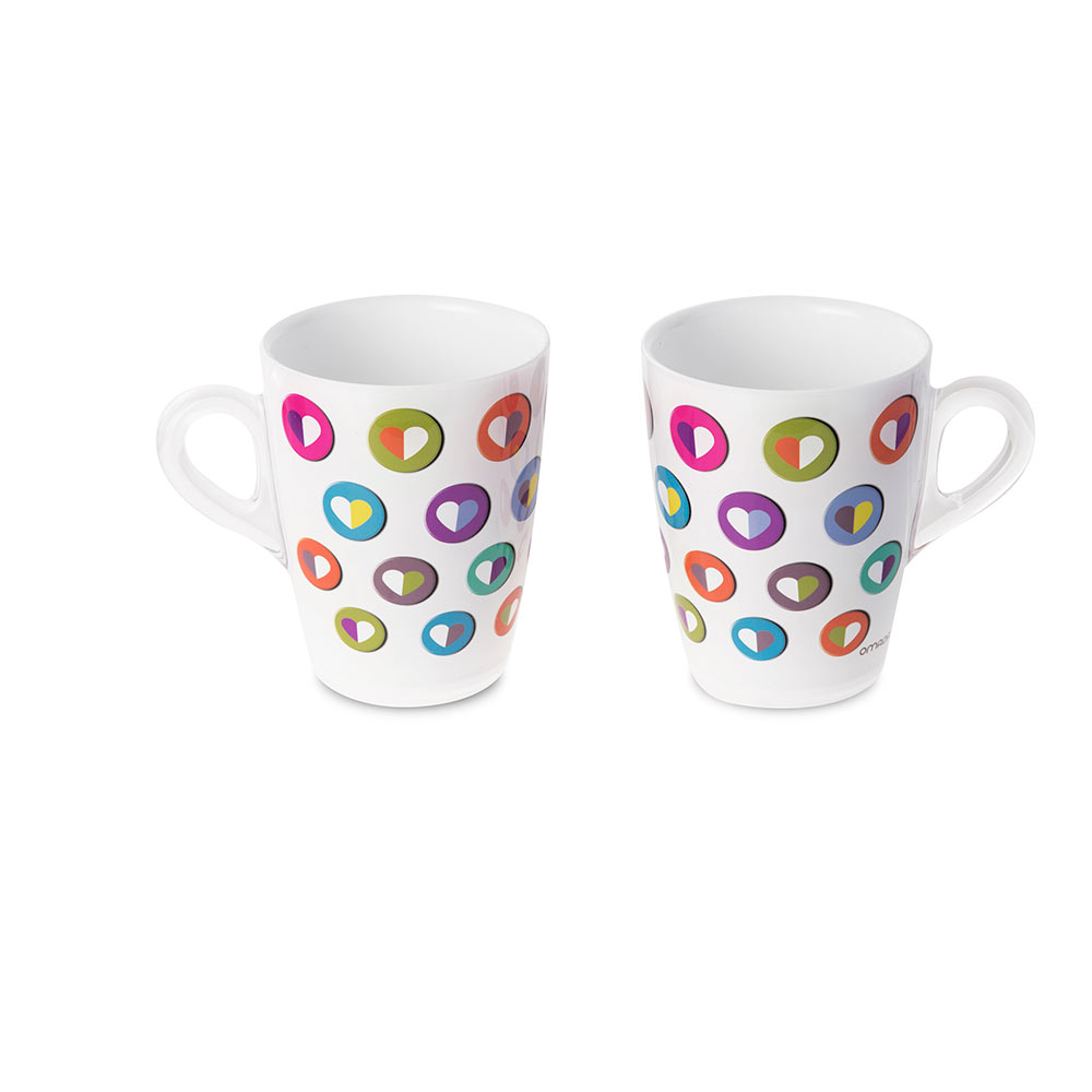 Set of two mugs with Heart Color decoration for a romantic and colorful gift.